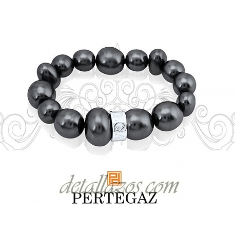 Pulsera de perlas negras Pertegaz para mujer
