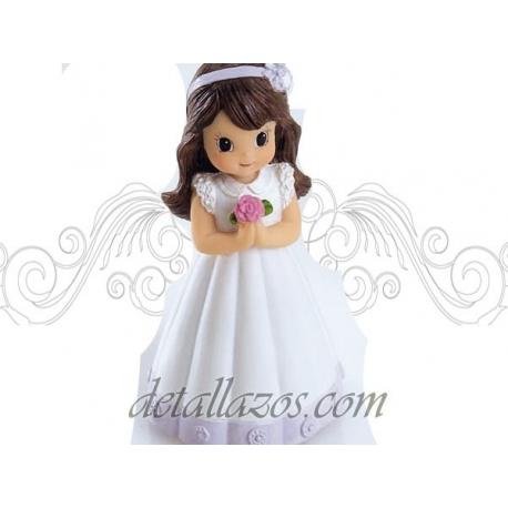 Figuritas niña de comunión con flor