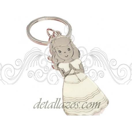 llavero de niña vestida de comunión