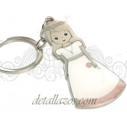 Llaveros niña vestida de comunión con rosa