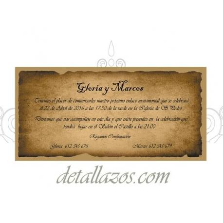 invitacion de boda de pergamino