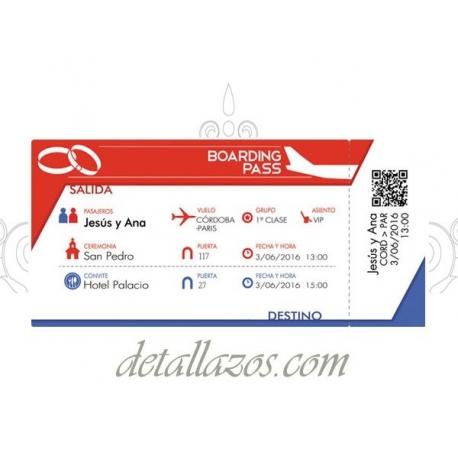 invitaciones billete de avión