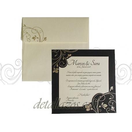 Invitaciones de boda negro y dorado