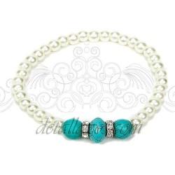 Pulseras perlas y turquesa