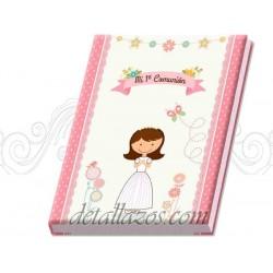 Libros de firmas de niñas con maletín
