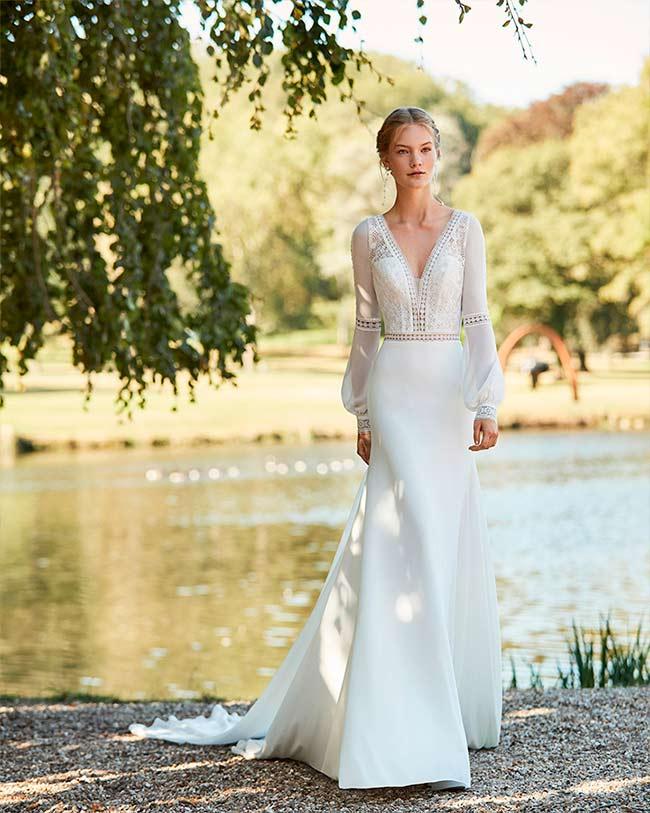 Vestido de Novia con escote en v de Alma novia 2021 Waris