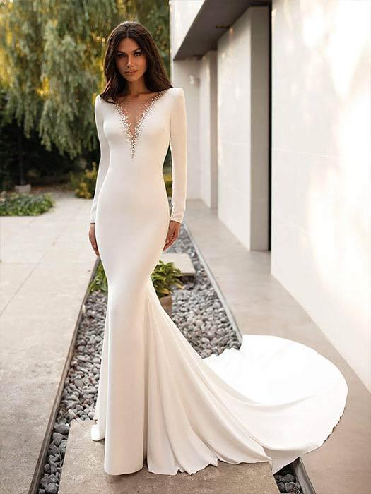 Pronovias Vestido de novia con mangas 2022 Elettra