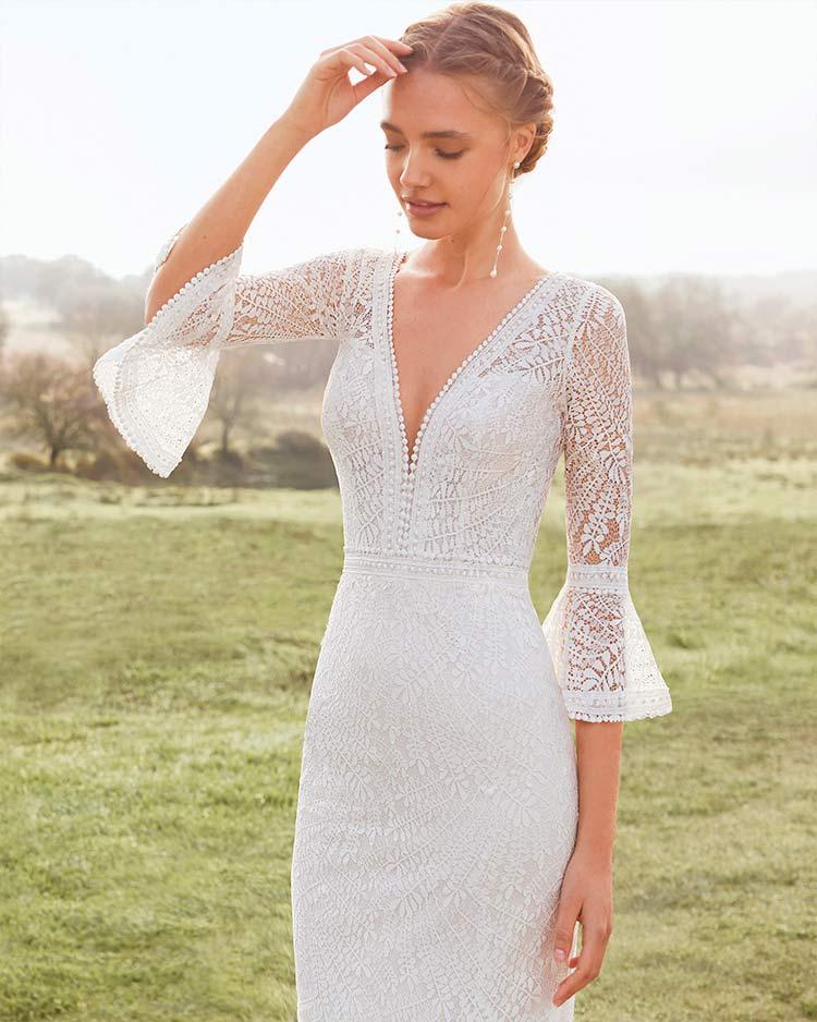 Rosa Clará Vestido de novia con mangas Aurel