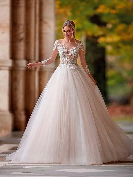 Nicole Milano Vestido de novia con mangas Ni12182