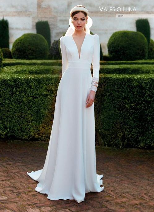 Vestido de novia sencillo Valerio Luna 2021 Doha